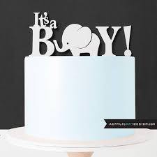 elephant cake topper it u0027s a boy for baby shower by acrylic art