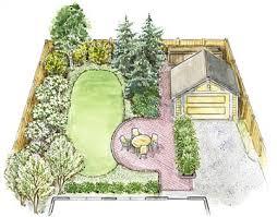 backyard plan a small backyard landscape plan better homes gardens