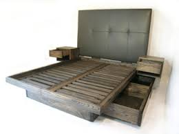 Diy Platform Bed With Storage Drawers by Custom Platform Bed With Drawers And Sidetables Uphostered