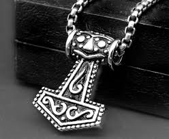 chunky necklace pendants images Wholesale solid stainless steel celtic viking god thor 39 s hammer jpg