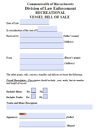 Sample Bill Of Sale Car by Free Massachusetts Boat Bill Of Sale Form Pdf Word Doc