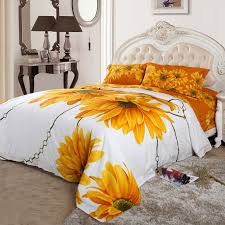 Sunflower Bed Set Yellow White And Orange Sunflower Blossom Print Size