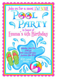 marvelous pool party invitation for kids birthday as affordable