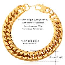 stainless steel gold plated bracelet images Buy u7 big stainless steel bracelet men jewelry jpg