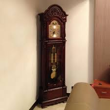copper stand clock movement grandfather wood living room european