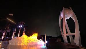 olympic torch lighting ceremony looks phallic daily mail