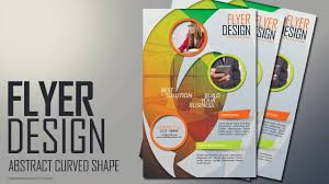 design flyer photoshop tutorial abstract curved shape flyer design
