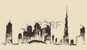 caravan of camels with dubai city skyline silhouette on background