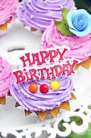 purple cookies cake say happy birthday stock photo picture and