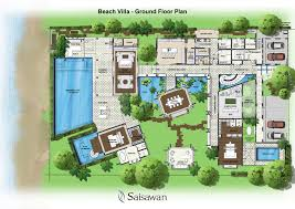 villa house plans floor plans with open kitchen to the living room u shaped