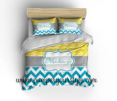 chevron and damask yellow and turquoise bedding duvet cover or