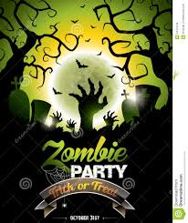 zombie themed halloween party vector illustration on a halloween zombie party theme stock vector