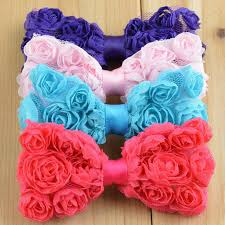 hair bows wholesale 12pcs boutique hair bow without clip kids chiffon shabby chic