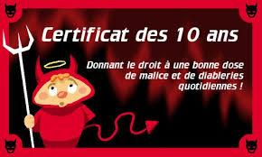 anniversaire mariage 10 ans carte certificat des 10 ans cybercartes