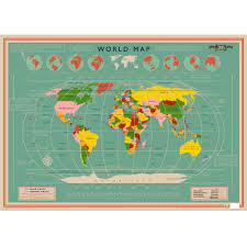 Map Paper World Map Wrapping Paper 5 Sheets Dotcomgiftshop