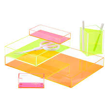 Pink Desk Organizers And Accessories by Poppin Neon Pink Acrylic Accessory Tray The Container Store