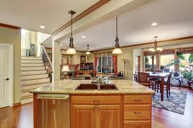 open floor plan view of kitchen island with sink stock photo