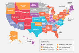 Blank Map Of All 50 States by How People Get Hurt In All 50 States Mental Floss