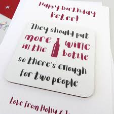 funny u0027more wine u0027 birthday card with coaster by wink design