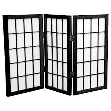 Panel Shoji Screen Room Divider - 2 ft tall desktop window pane shoji screen 3 panels oriental
