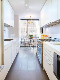 Modern White Kitchen Design Kitchen Marvelous Narrow White Galley Kitchen Design With Small