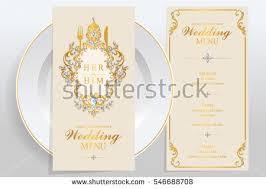 wedding menu card templates gold patterned stock vector 546688708
