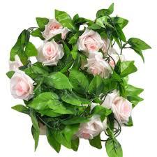 estd artificial fake silk rose flower vine hanging ivy garland