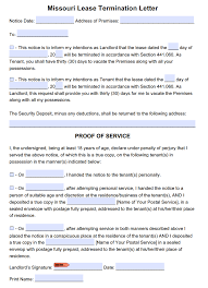 Termination Of Lease Letter Free Missouri 30 Day Lease Termination Letter Month To Month