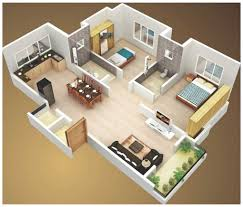 2 Bhk House Plan 2 Bedroom Cottage House Plans In 3d 4 Luxihome