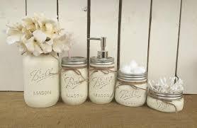 mason jar bathroom vanity set set of 5 jars antique white