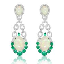 green opal earrings couture opal earrings with emeralds and diamonds sutra the