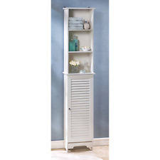 White Tall Bathroom Cabinet by Nantucket Cottage White Tall Storage Cabinet Shelf Unit Ebay