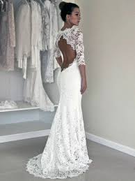 modest wedding dresses with 3 4 sleeves trumpet mermaid white lace scoop with open back 3 4 sleeve modest