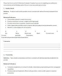 performance review comments 5 performance review templates free sample example format