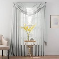 Bed Bath Beyond Sheer Curtains Buy Sheer 95 Inch Window Curtain Panel In Grey From Bed Bath U0026 Beyond