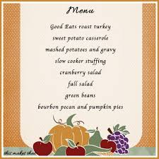 thanksgiving day menus thanksgiving menu this makes that