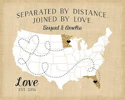 usa map with states distance custom map for distance relationships glitter map gift