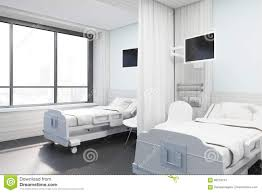 side view of ward with purple beds stock illustration image