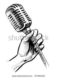 hand retro microphone sketch stock illustration 677901016