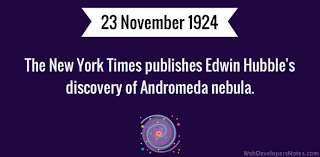the new york times publishes the new york times publishes edwin hubble s discovery of andromeda