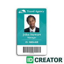 travel agency employee id card from idcreator