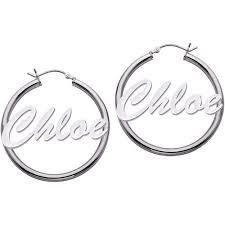 Personalized Name Earrings Personalized Large Name Sterling Silver Hoop Earrings Walmart Com