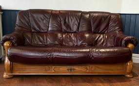 Burgundy Leather  Seat Sofa And Reclining Chair - Leather 3 seat sofa
