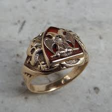 1920 u0027s gold u0026 carnelian double headed eagle masonic ring u2014 worn