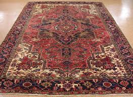 8 x 12 antique persian heriz tribal hand knotted wool red navy