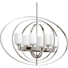 Orb Light Fixture by Progress Lighting Equinox Collection 6 Light Polished Nickel Orb