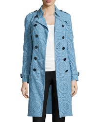 light blue trench coat burberry double breasted english lace trenchcoat light blue