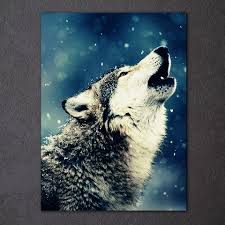 1 pieces wolf howl animal wall art canvas pictures for living room
