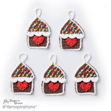 gingerbread house crochet ornaments crochet pattern yarnspirations