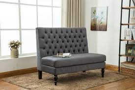 High Back Tufted Loveseat High Back Settee Example Of A Trendy Dining Room Design In San